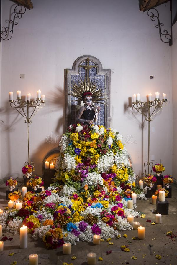 Mexican Catrina wearing flowers dress stock images