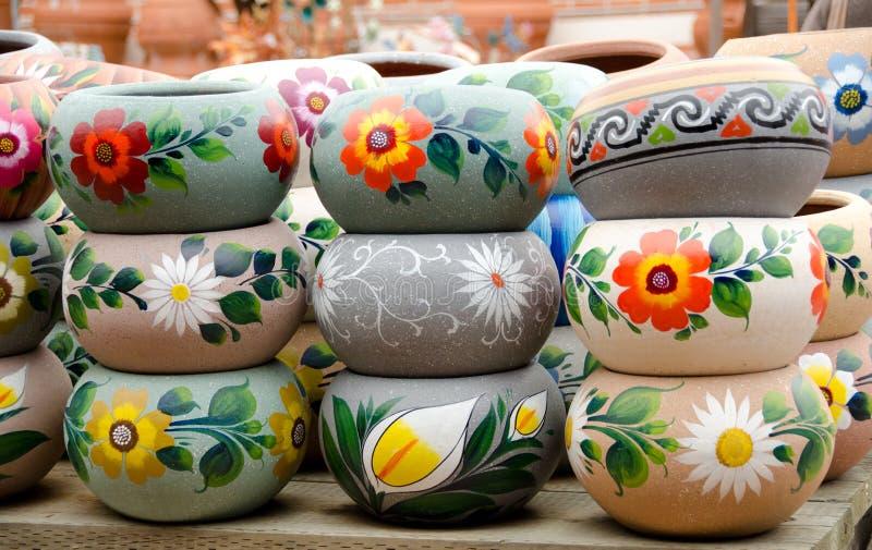 Mexican ceramic pots n dislpay stock photos
