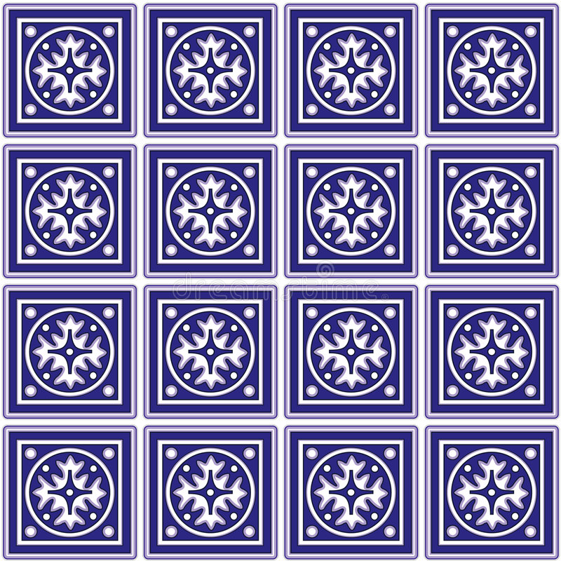 Mexican Ceramic Tiles Background. Decorative Mexican ceramic tile pattern background for decorating, design, arts, crafts, scrapbooks royalty free illustration