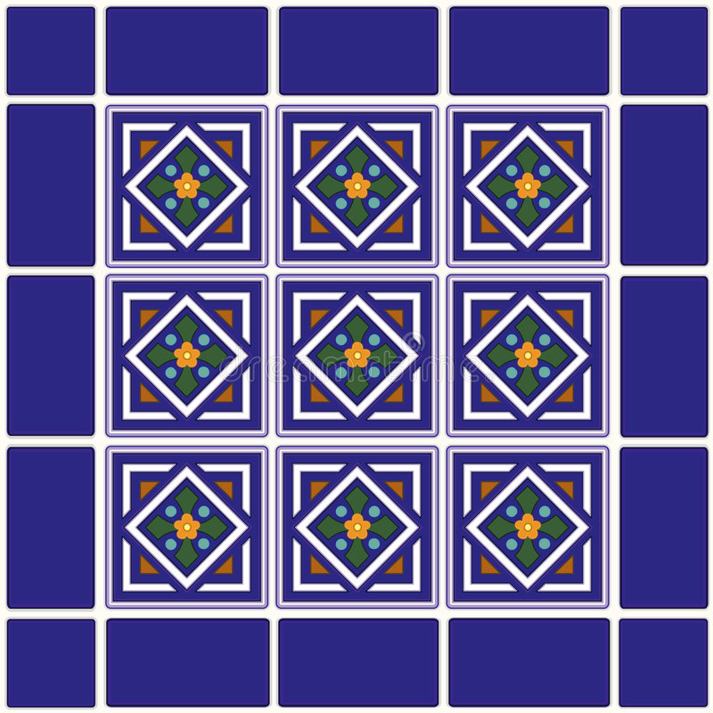 Mexican Ceramic Tiles Background royalty free illustration
