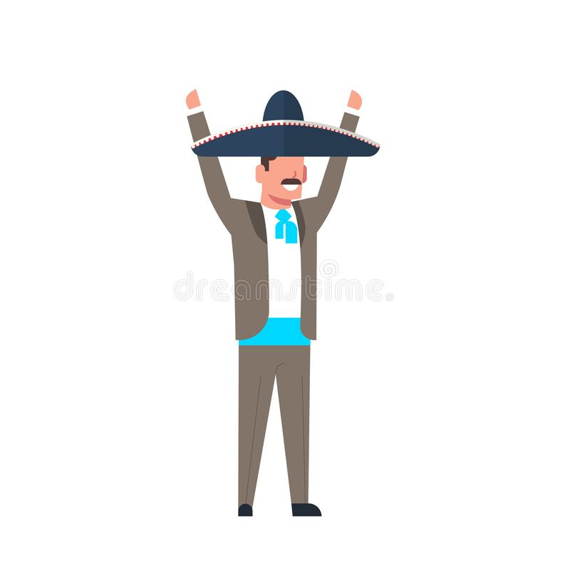 Mexican Character Man In Traditional Costume And Sombrero Hat Isolated On White Background. Flat Vector Illustration royalty free illustration