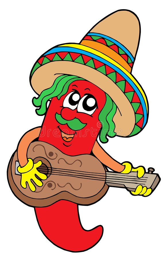 Mexican chilli guitar player vector illustration