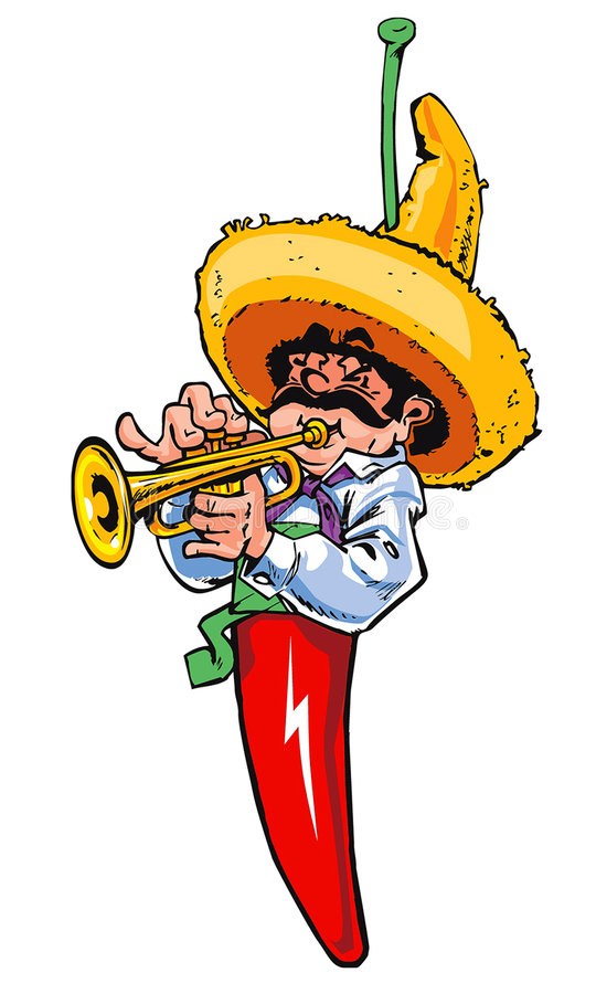 Mexican chilli music player stock illustration