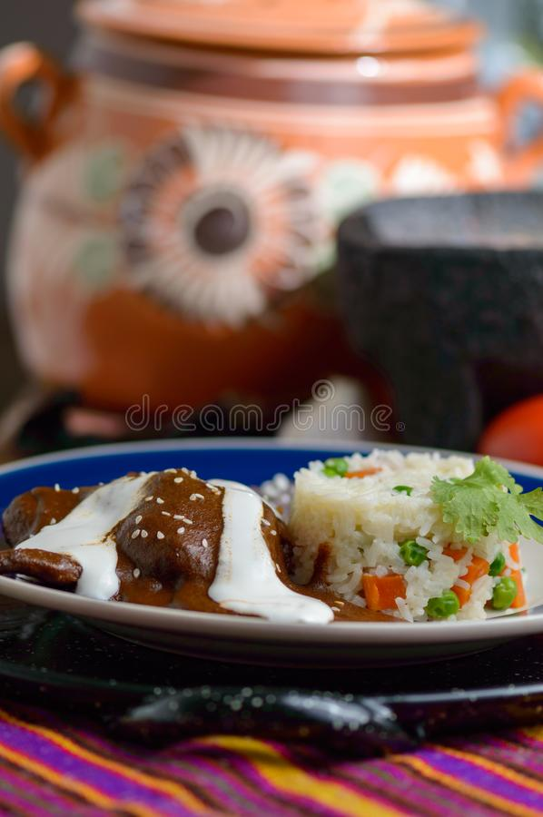 Mexican chocolate mole sauce with chicken stock image