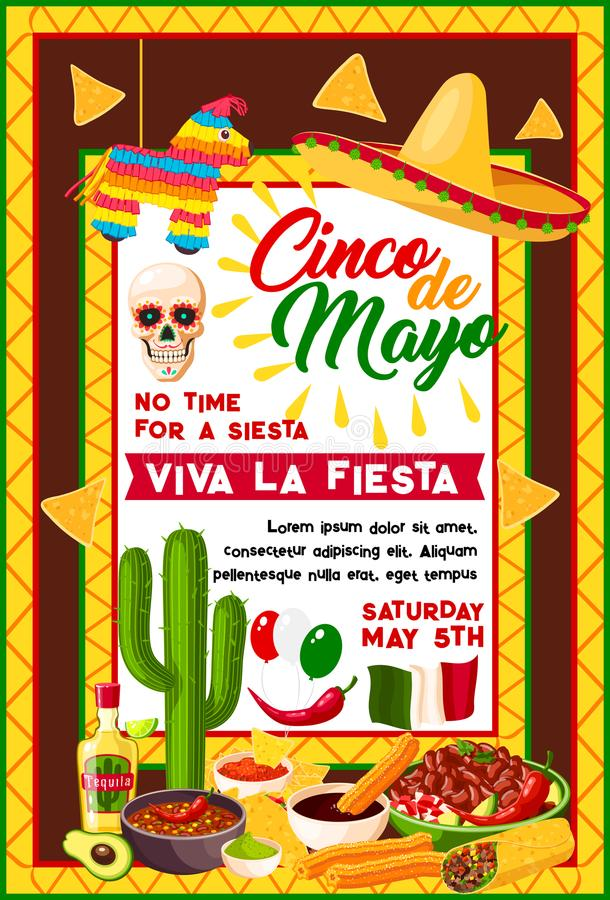 Mexican Cinco de Mayo banner with holiday symbols royalty free illustration