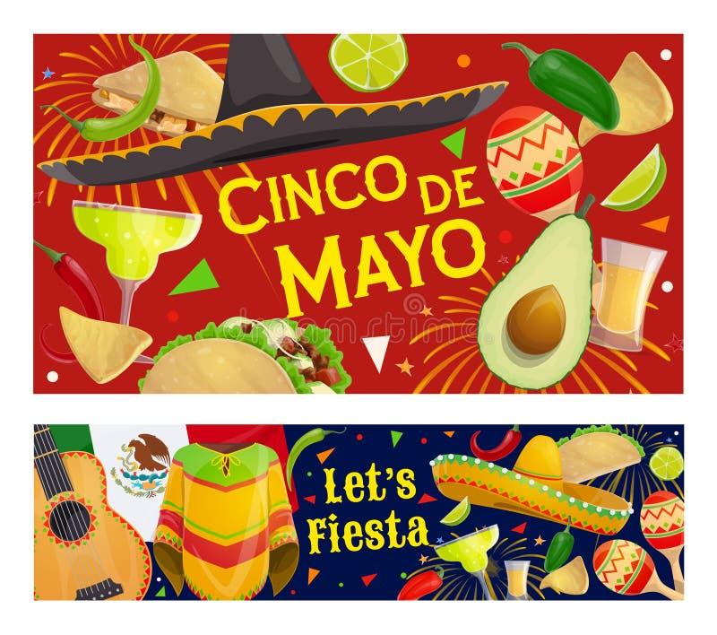 Mexican Cinco de Mayo fiesta sombrero, guitar. Mexican fiesta party sombrero and maracas vector banners of Cinco de Mayo holiday design. Mariachi guitar stock illustration