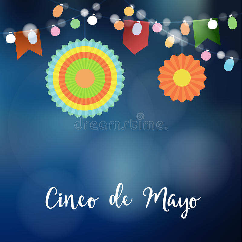 Mexican Cinco de Mayo greeting card, invitation. Party decoration, string of light bulbs, paper flags and colorful vector illustration