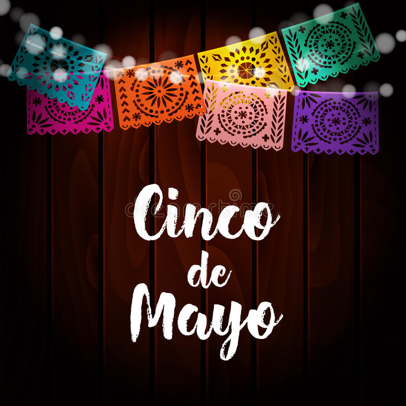 Mexican Cinco de Mayo greeting card, invitation. Party decoration, string of lights, handmade cut paper flags. Old. Wooden background, vector illustration stock illustration