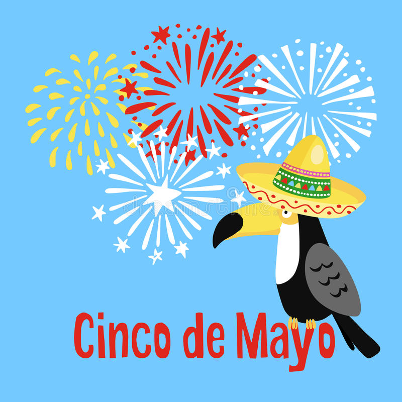 Mexican Cinco de Mayo greeting card, party invitation. Toucan bird with sombrero hat and hand drawn fireworks. Vector vector illustration