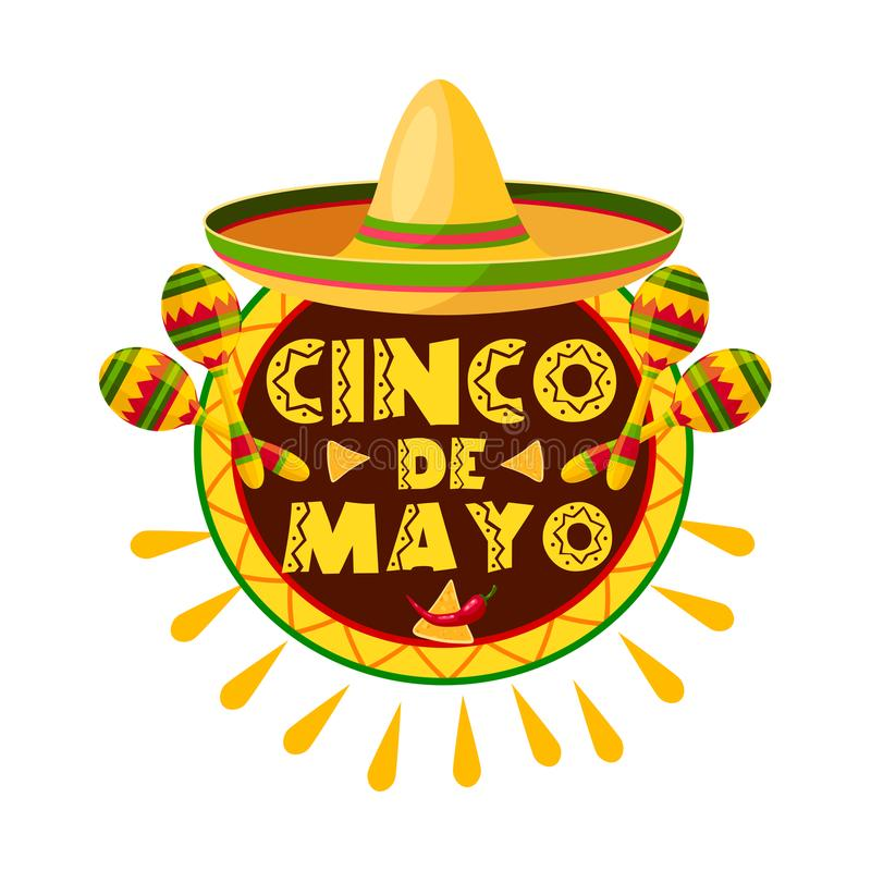 Mexican Cinco de Mayo holiday sombrero icon. Mexican Cinco de Mayo holiday sombrero, maracas and pepper greeting card. Latin american fiesta party hat, maracas stock illustration