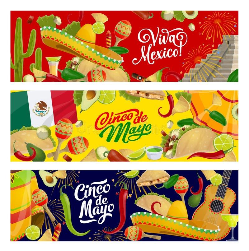 Cinco de Mayo Mexican fiesta sombreros and guitar. Mexican Cinco de Mayo holiday vector design with sombrero, maracas and guitar. Fiesta party tequila margarita stock illustration