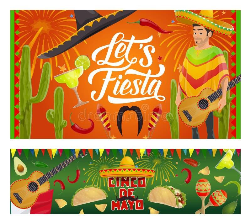 Mexican Cinco de Mayo sombrero, guitar, cactus. Cinco de Mayo fiesta party vector invitations with Mexican guitars, sombrero and mariachi maracas. Latin American stock illustration