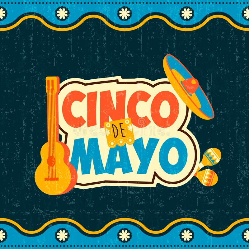 Mexican cinco de mayo typography quote poster royalty free illustration