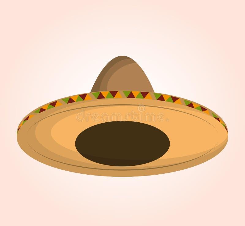 mexican classic sombrero icon stock illustration