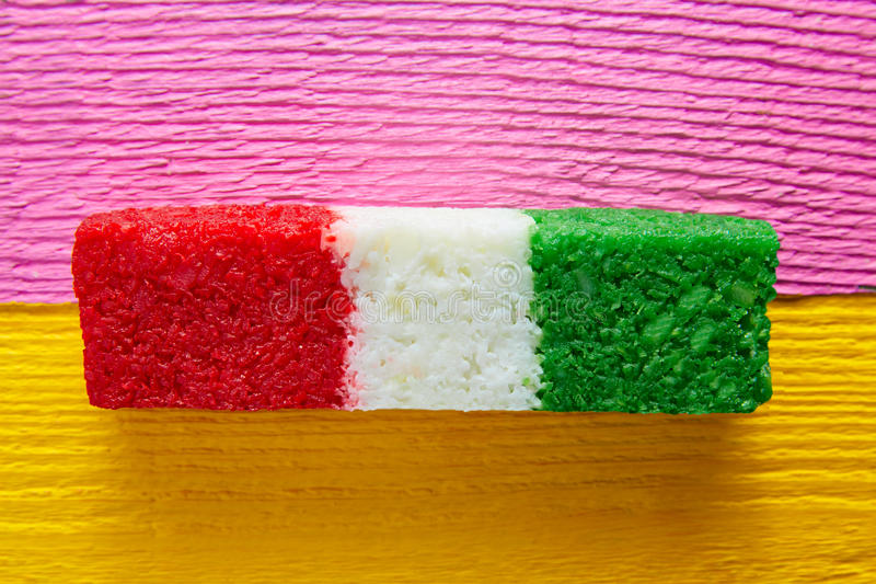Mexican coconut flag candy striped chredded. Sweet from Mexico stock images