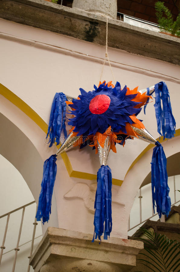 Mexican colorful piñata. Traditional pinata star shape from Mexico. Important part of parties and celebrations in mexican culture stock images