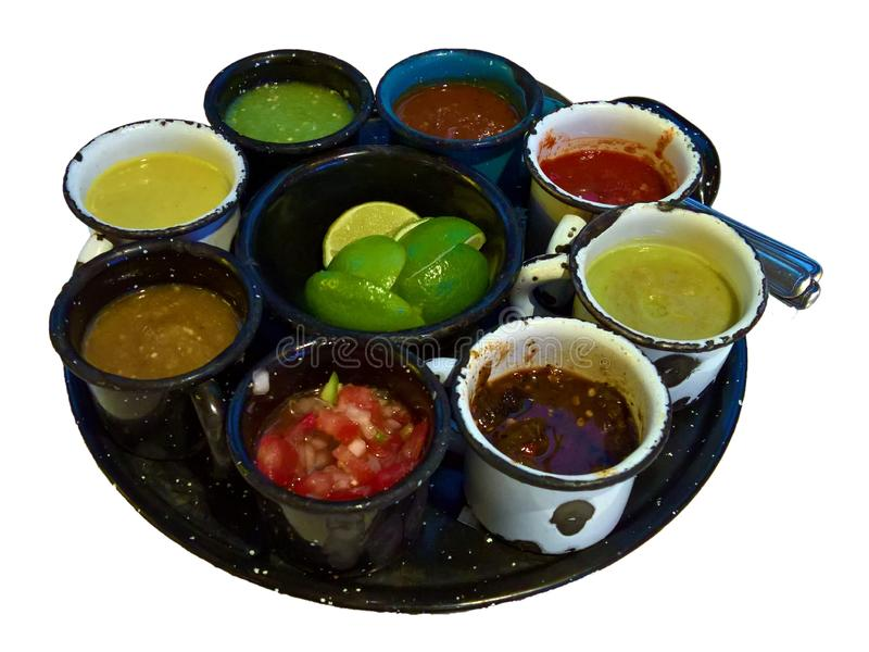 Mexican condiments and salsas. Isolated, from a restaurant in Ocoyoacac royalty free stock image