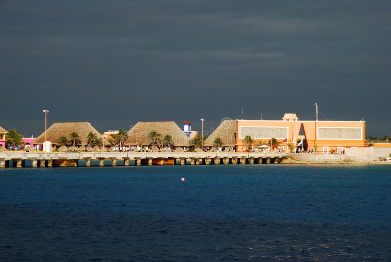 Mexican Contrast. Costa Maya cruise ship terminal in early morning (Mexico stock images
