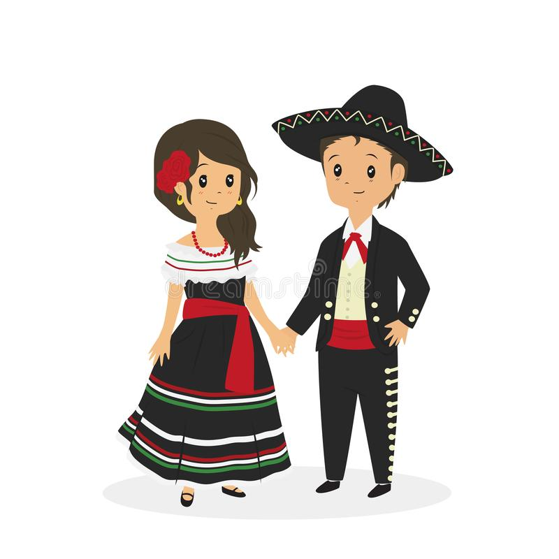 Mexican Couple Wearing Traditional Dress Vector. Cute couple wearing Mexican traditional dress. Mexican traditional dress cartoon vector. Mexican senor and vector illustration