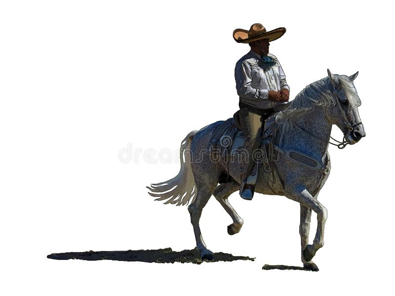 Mexican caballero on a white stallion clipart. Mexican cowboy with a big hat on a fancy white gray horse isolated on a white background vector illustration