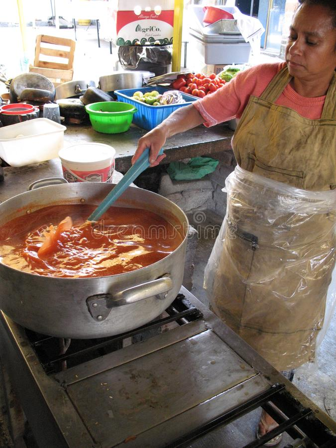 Mexican cuisine cooking consome on the street market stock image