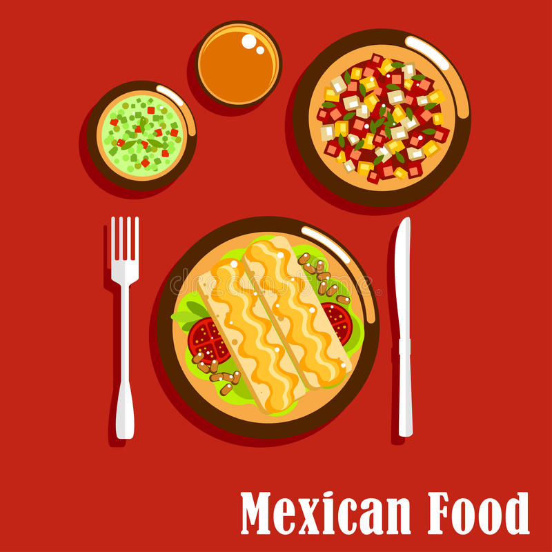 Mexican cuisine with enchiladas and sauces. Spicy mexican cuisine food icons of enchiladas, served with beans, tomatoes and cheese sauce, green salsa verde and royalty free illustration