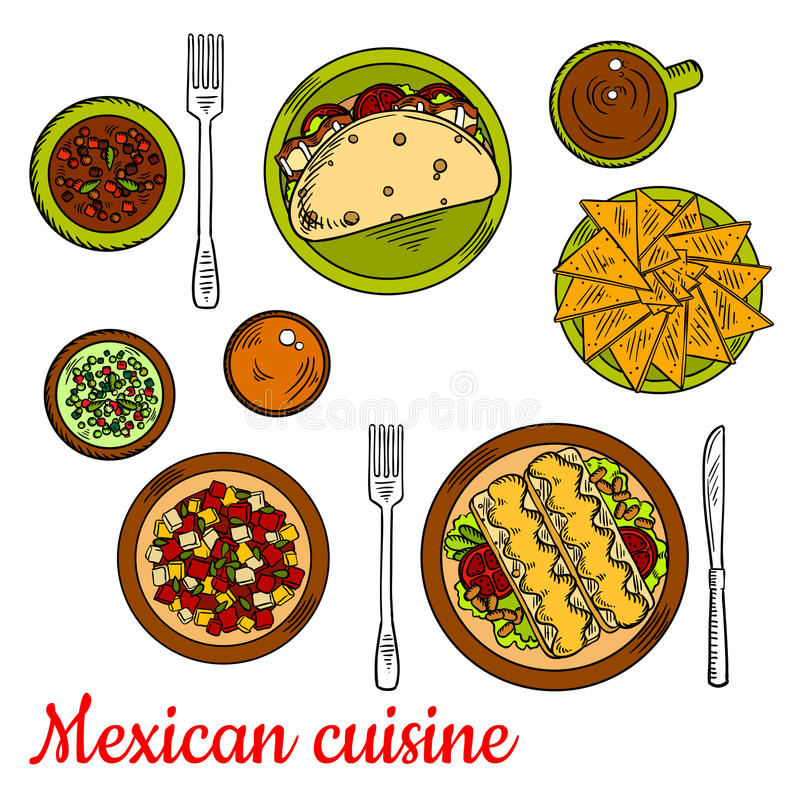 Mexican cuisine icon with taco, nachos, enchiladas. Traditional mexican taco, filled with fresh vegetables and bacon, crunchy nachos, enchiladas, served with vector illustration