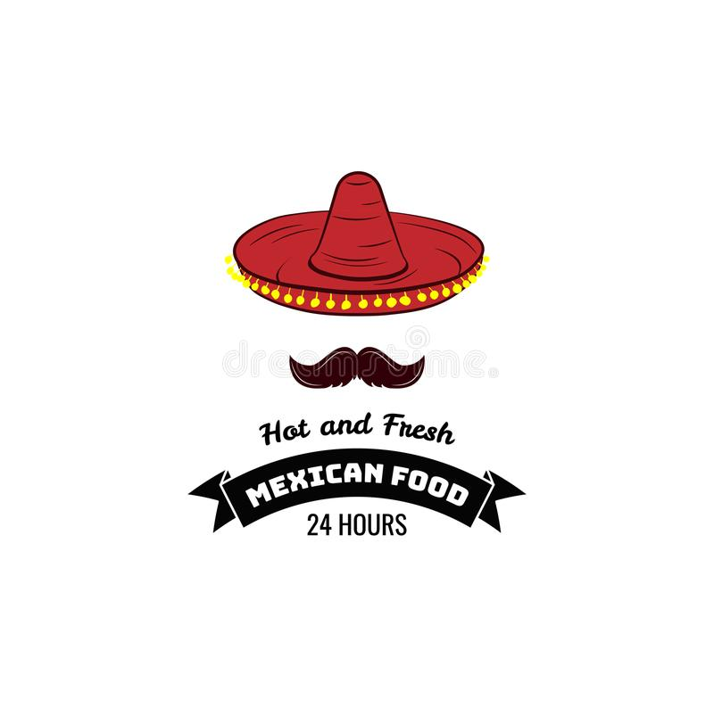 Mexican cuisine icon. Vector emblem with sombrero hat. Mexican spicy and hot traditional food icon. Badge for mexican fast food or mexican restaurant menu royalty free illustration