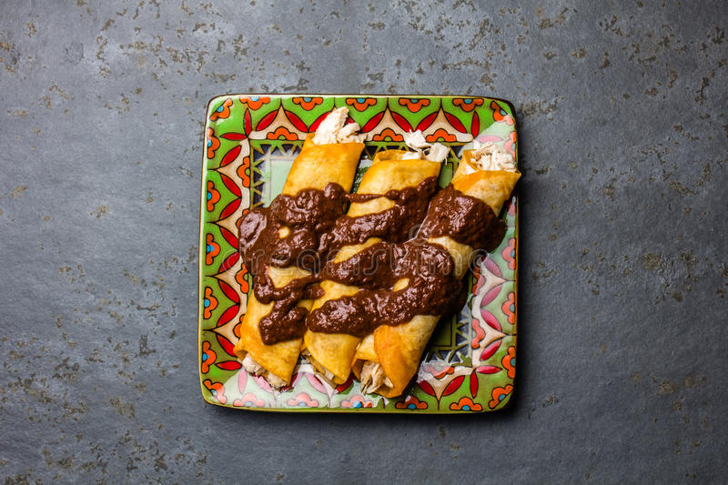 Mexican cuisine. Traditional Mexican chicken enchiladas with spicy chocolate salsa mole poblano. Enchiladas with sauce stock image