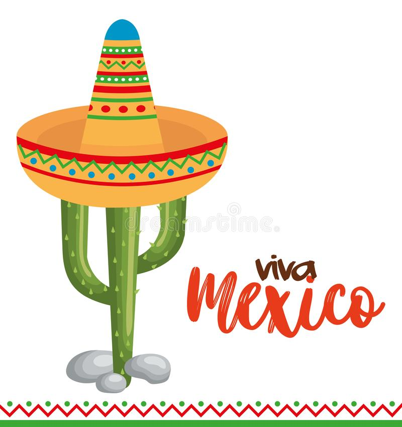 Mexican culture cactus with hat. Vector illustration design vector illustration