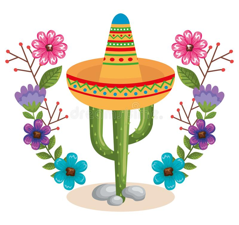 Mexican culture cactus and hat. Vector illustration design stock illustration