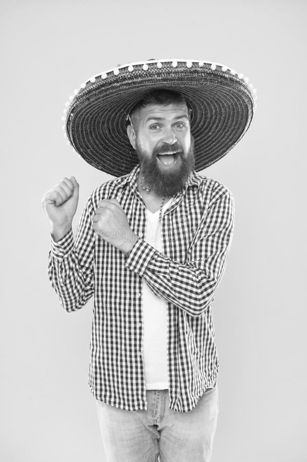 Mexican culture concept. Celebrate mexican holiday. Mexican bearded guy ready to celebrate. Customs and traditions. Sombrero wide brimmed hat provides plenty stock photos