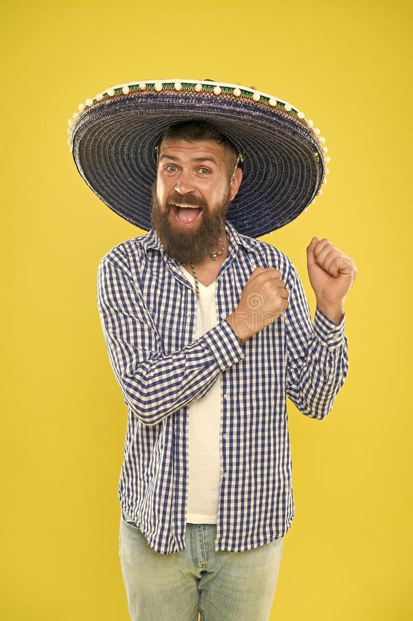 Mexican culture concept. Celebrate mexican holiday. Mexican bearded guy ready to celebrate. Customs and traditions. Sombrero wide brimmed hat provides plenty stock photo