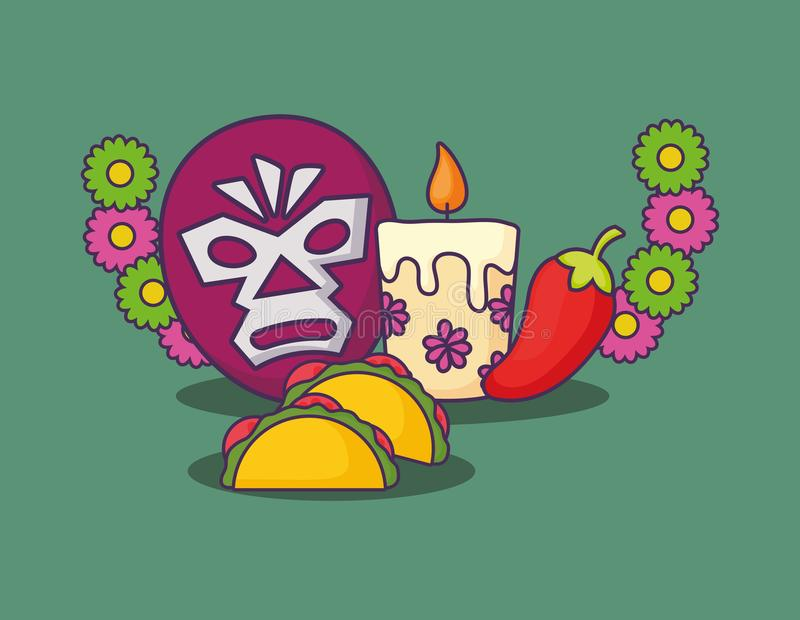 Mexican culture design. Decorative wreath of flowers with wrestler mask and tacos over green background, colorful design. vector illustration stock illustration
