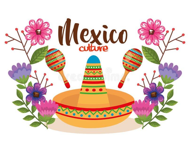 Mexican culture hat and maracas. Vector illustration design vector illustration