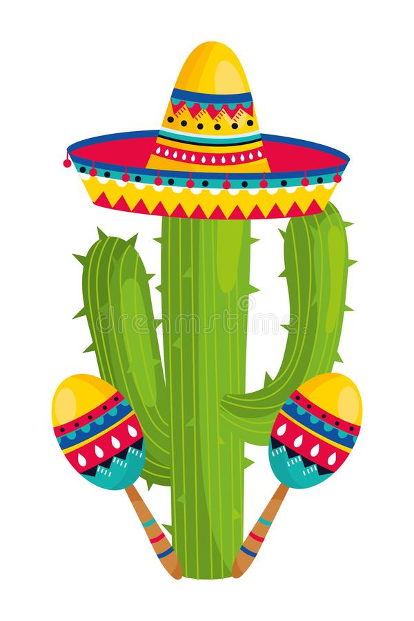 Mexican culture mexico cartoon. Mexican culture mexico cactus with maracas wearing mariachi hat cartoon vector illustration graphic design royalty free illustration