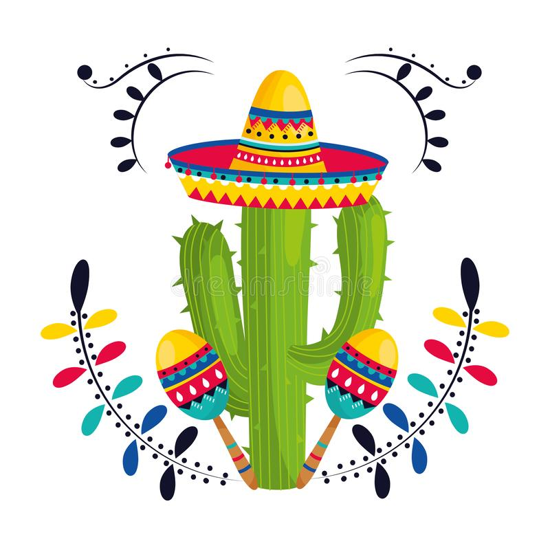 Mexican culture mexico cartoon. Mexican culture mexico cactus with maracas wearing mariachi hat cartoon vector illustration graphic design stock illustration