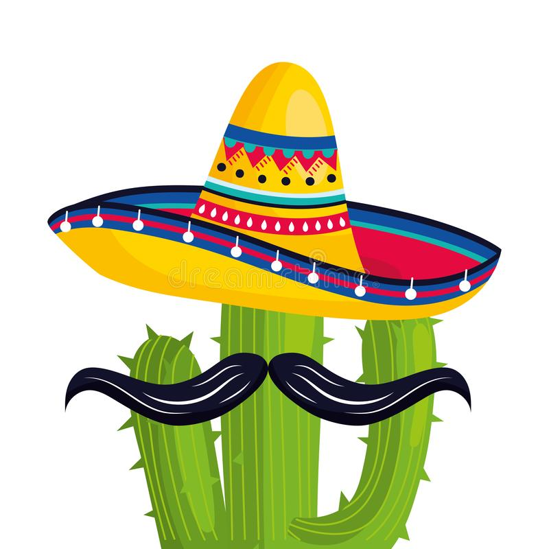 Mexican culture mexico cartoon. Mexican culture mexico cactus with moustache wearing mariachi hat cartoon vector illustration graphic design vector illustration