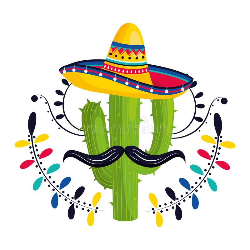 Mexican culture mexico cartoon. Mexican culture mexico cactus with moustache wearing mariachi hat cartoon vector illustration graphic design royalty free illustration
