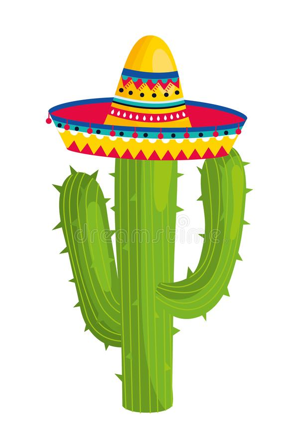 Mexican culture mexico cartoon. Mexican culture mexico cactus wearing mariachi hat cartoon vector illustration graphic design stock illustration