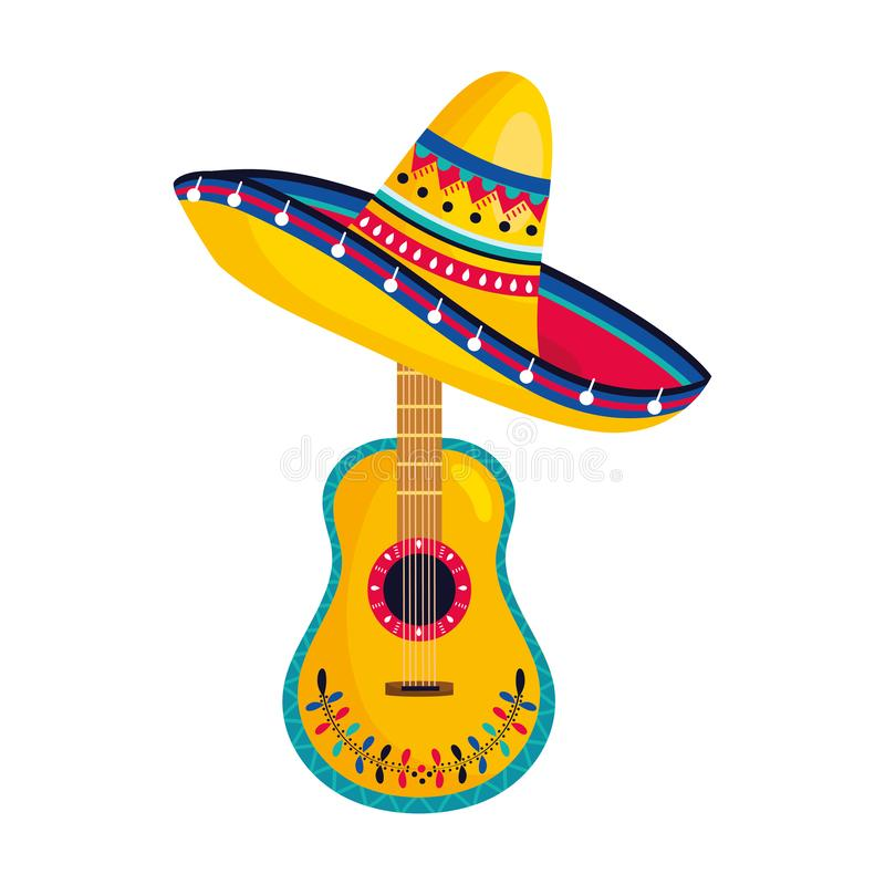 Mexican culture mexico cartoon. Mexican culture mexico guitar instrument with mariachi hat cartoon vector illustration graphic design royalty free illustration
