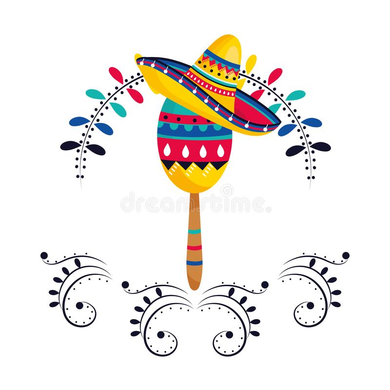 Mexican culture mexico cartoon. Mexican culture mexico maraca instrument wearing mariachi hat cartoon vector illustration graphic design stock illustration