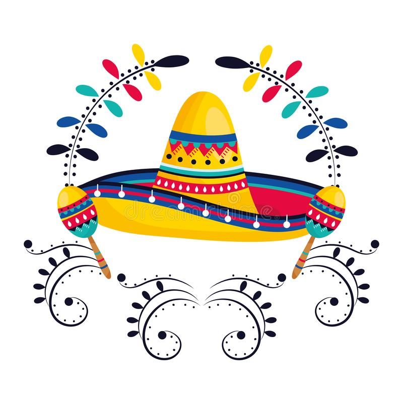 Mexican culture mexico cartoon. Mexican culture mexico mariachi hat with maracas instruments cartoon vector illustration graphic design stock illustration