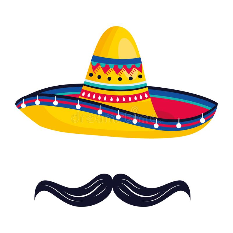 Mexican culture mexico cartoon. Mexican culture mexico mariachi hat with mousctache cartoon vector illustration graphic design vector illustration