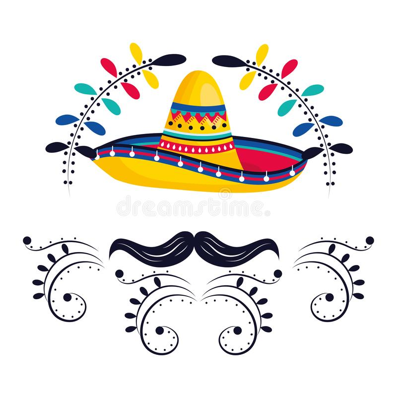 Mexican culture mexico cartoon. Mexican culture mexico mariachi hat with mousctache cartoon vector illustration graphic design stock illustration