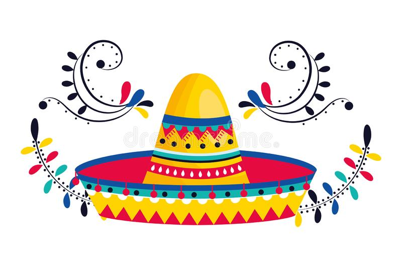 Mexican culture mexico cartoon. Mexican culture mexico mariachi hat cartoon vector illustration graphic design royalty free illustration