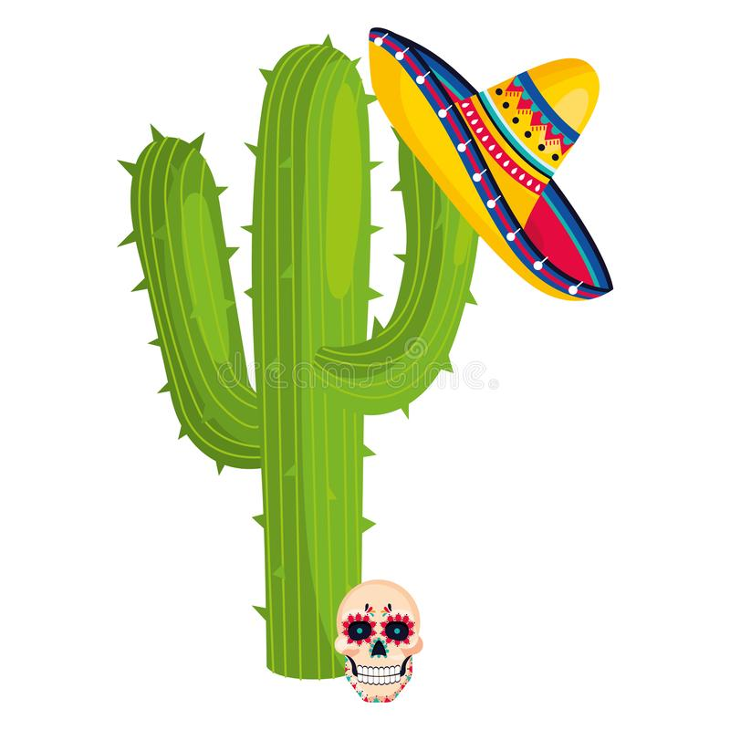 Mexican culture mexico cartoon. Mexican culture mexico day of dead skull with cactus and mariachi hat cartoon vector illustration graphic design stock illustration