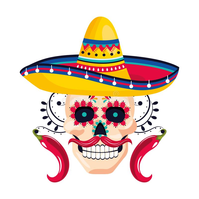 Mexican culture mexico cartoon. Mexican culture mexico day of dead skull wearing mariachi hat cartoon vector illustration graphic design royalty free illustration