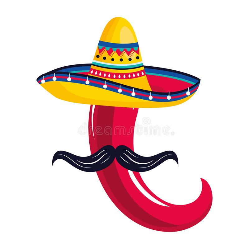 Mexican culture mexico cartoon. Mexican culture mexico pepper wth moustache wearing mariachi hat cartoon vector illustration graphic design royalty free illustration