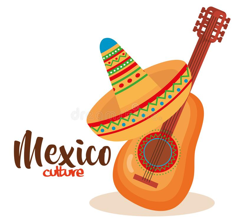 Mexican culture traditional hat and guitar. Vector illustration stock illustration